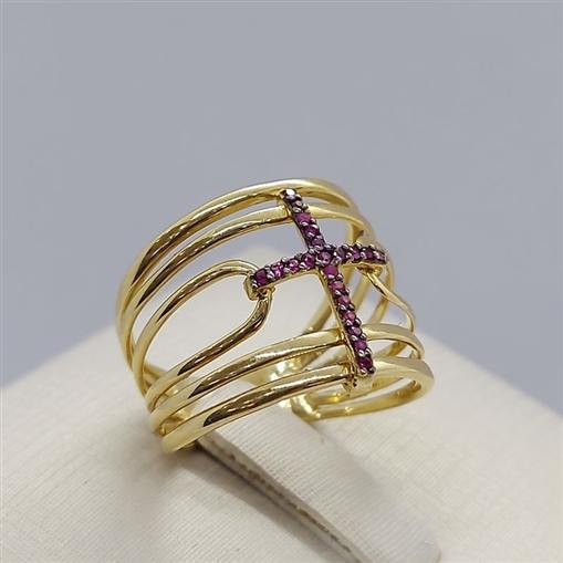Anel de Ouro 18k Cruz com Pedras de Rubi