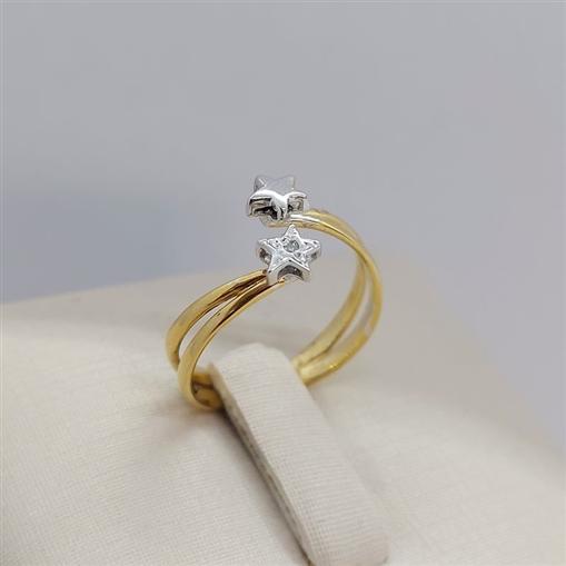 Anel de Ouro 18k Estrelas em Ouro Branco e Brilhante