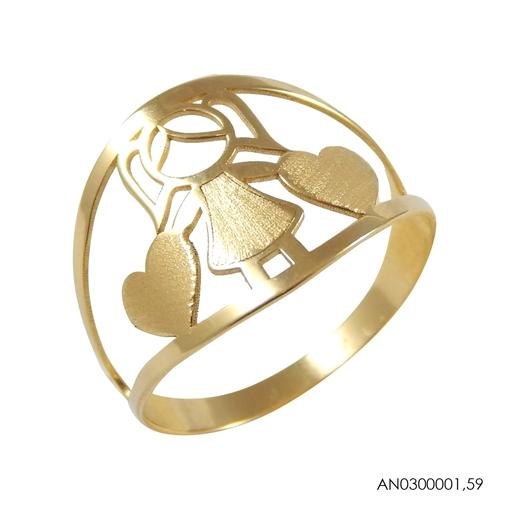 Anel de Ouro 18k Menina Com Coração Dourado