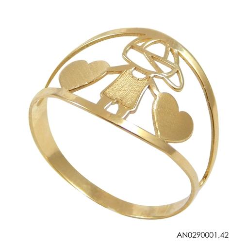 Anel de Ouro 18k Menino Com Coração