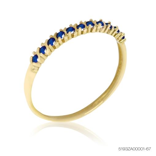 Anel De Ouro Meia Aliança 18K Com Pedras Azul