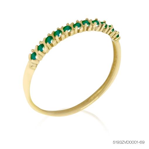 Anel De Ouro Meia Aliança 18k Com Pedras Verde