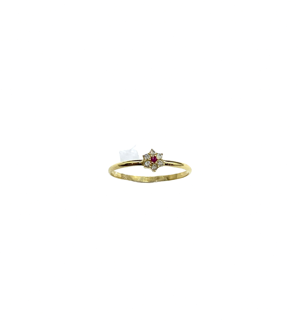 Anel Ouro 18k Flor Rubi