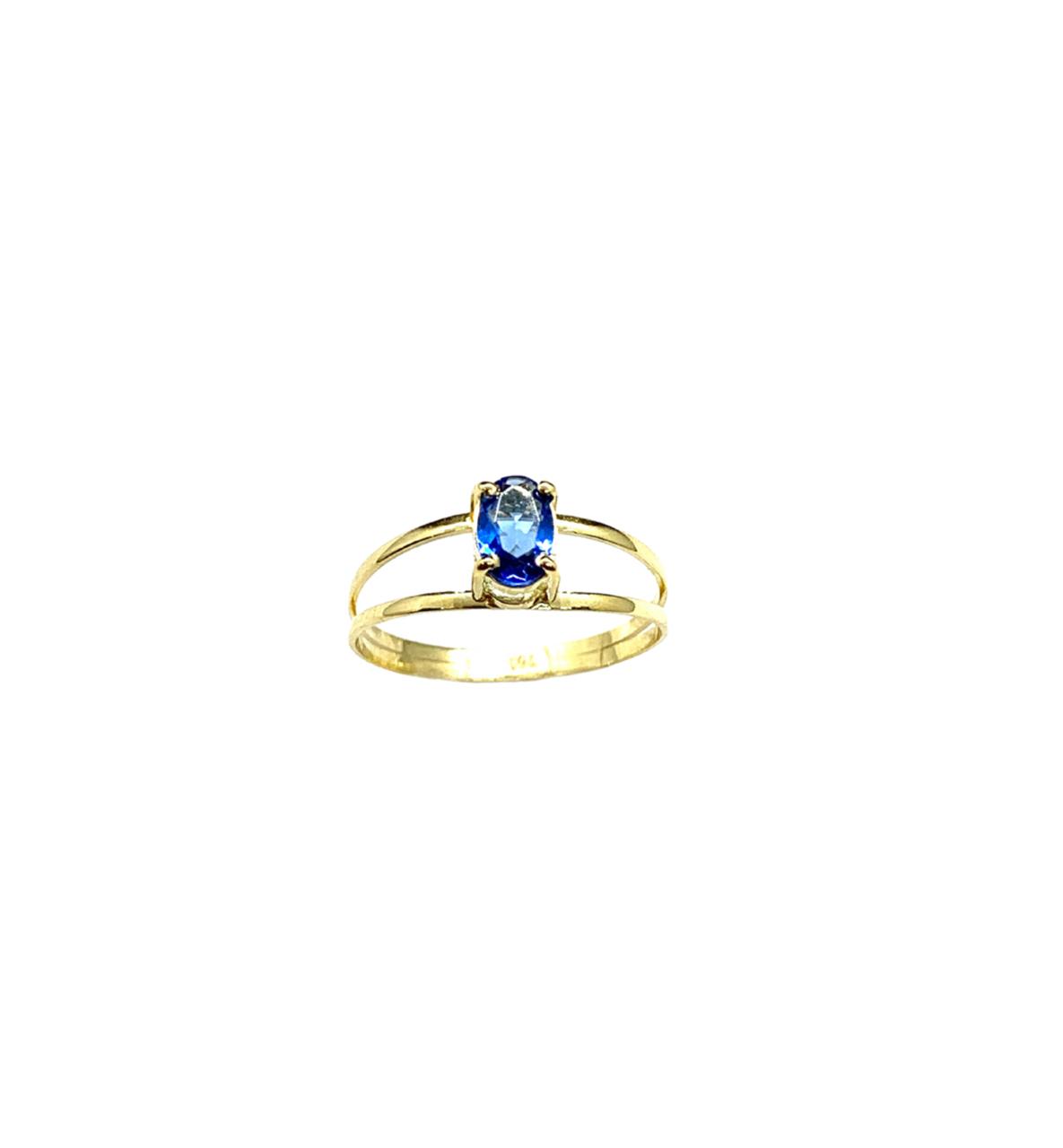 Anel Ouro 18k Pedra Oval Safira 61008ANAB204001-43