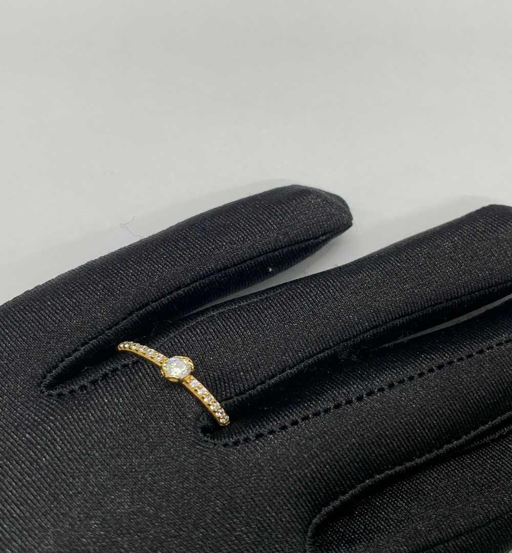 Anel Ouro 18k Solitário Cravejado Jjoias Premium