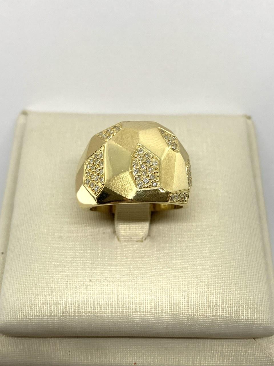 Anel Ouro 18k Trabalhado com Brilhantes Jjoias Premium