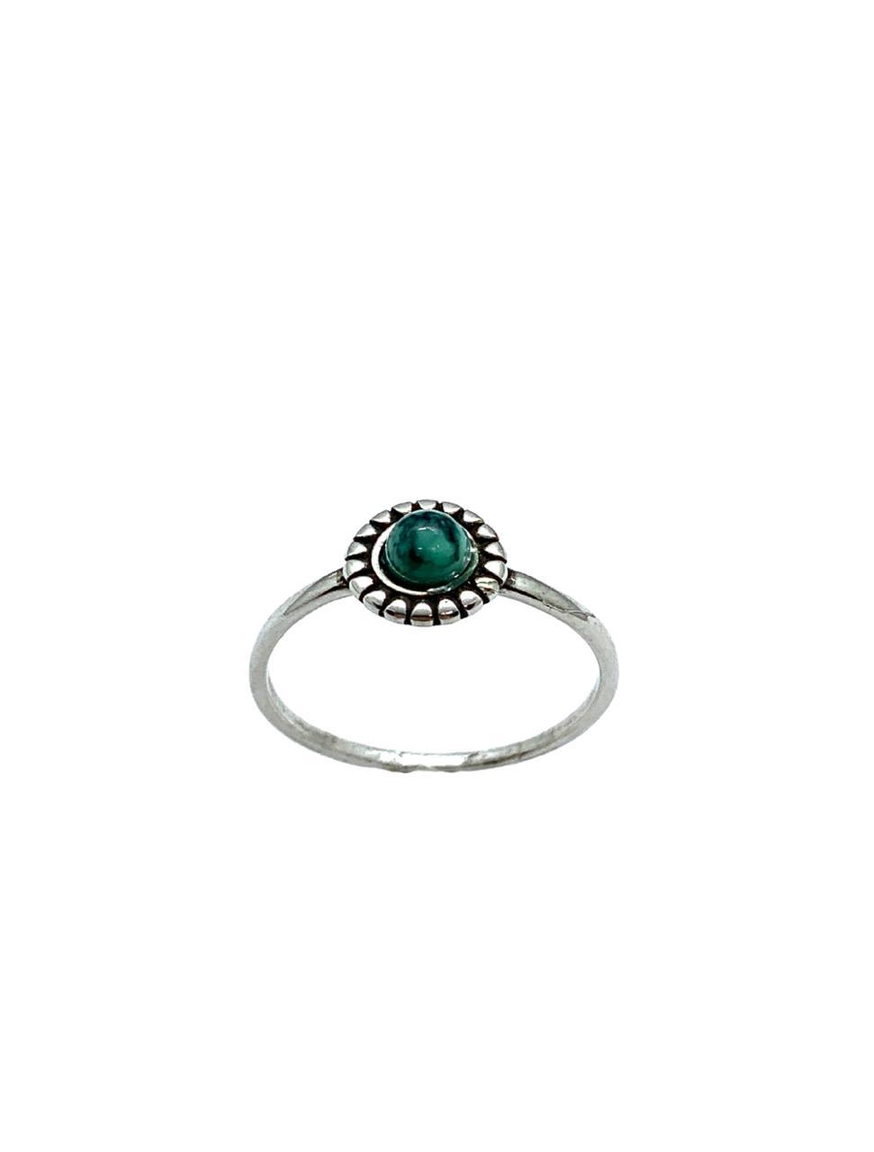 Anel Prata Com Pedra Redonda Verde AN3017