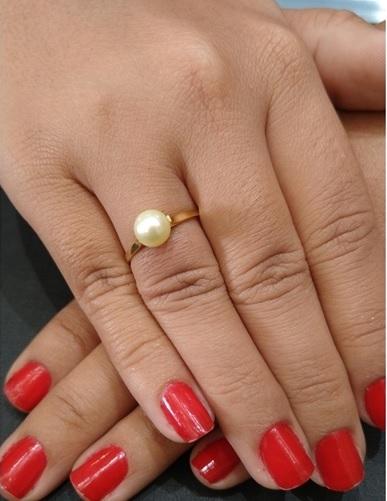 Anel Solitário com Pérola Ouro 18k