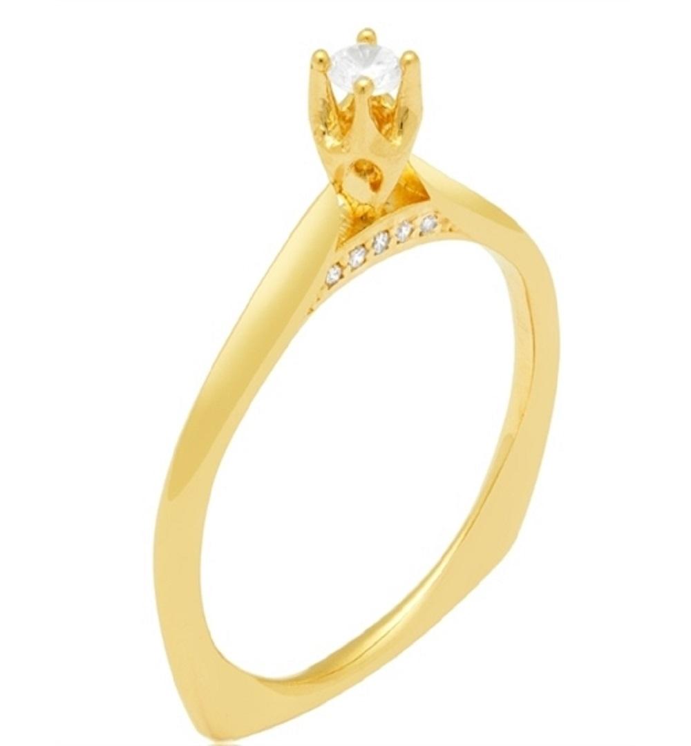 Anel Solitario Ouro 18k Cravejado Com Zirconia Jjoias Premium