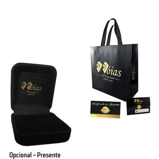 Anel Solitario Ouro 18k Detalhe Cravejado e Zirconia Jjoias Premium