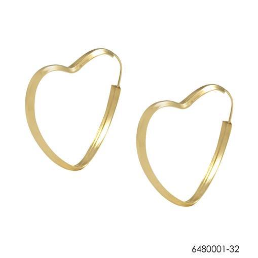 Brinco Argola Coração Ouro 18k