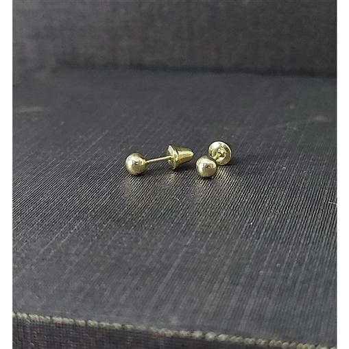 Brinco de Ouro 18k Infantil Bola 3,0mmX3,0mmX3,0mm