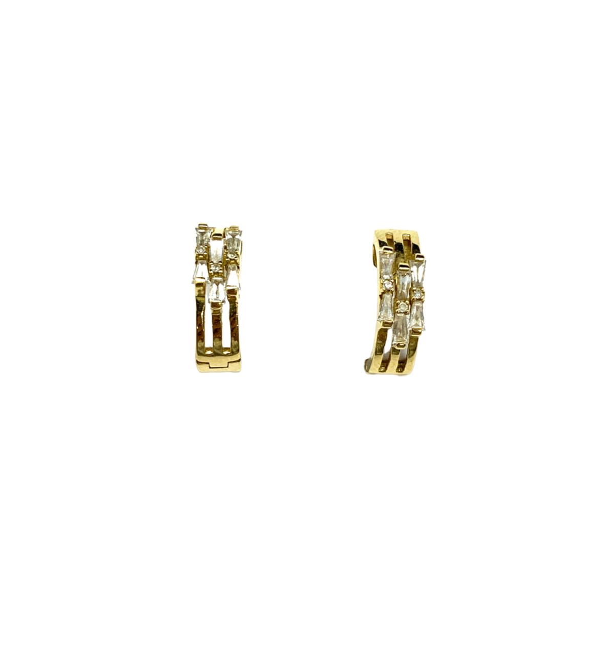Brinco Ouro 18K Argola Com Brilhante Jjoias Premium