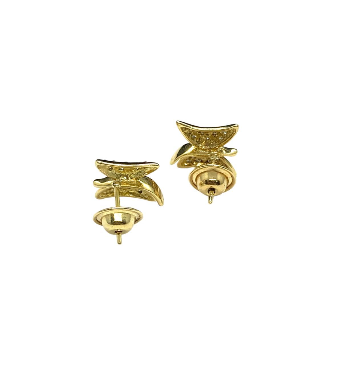 Brinco Ouro 18K Borboleta Com Brilhante Jjoias Premium