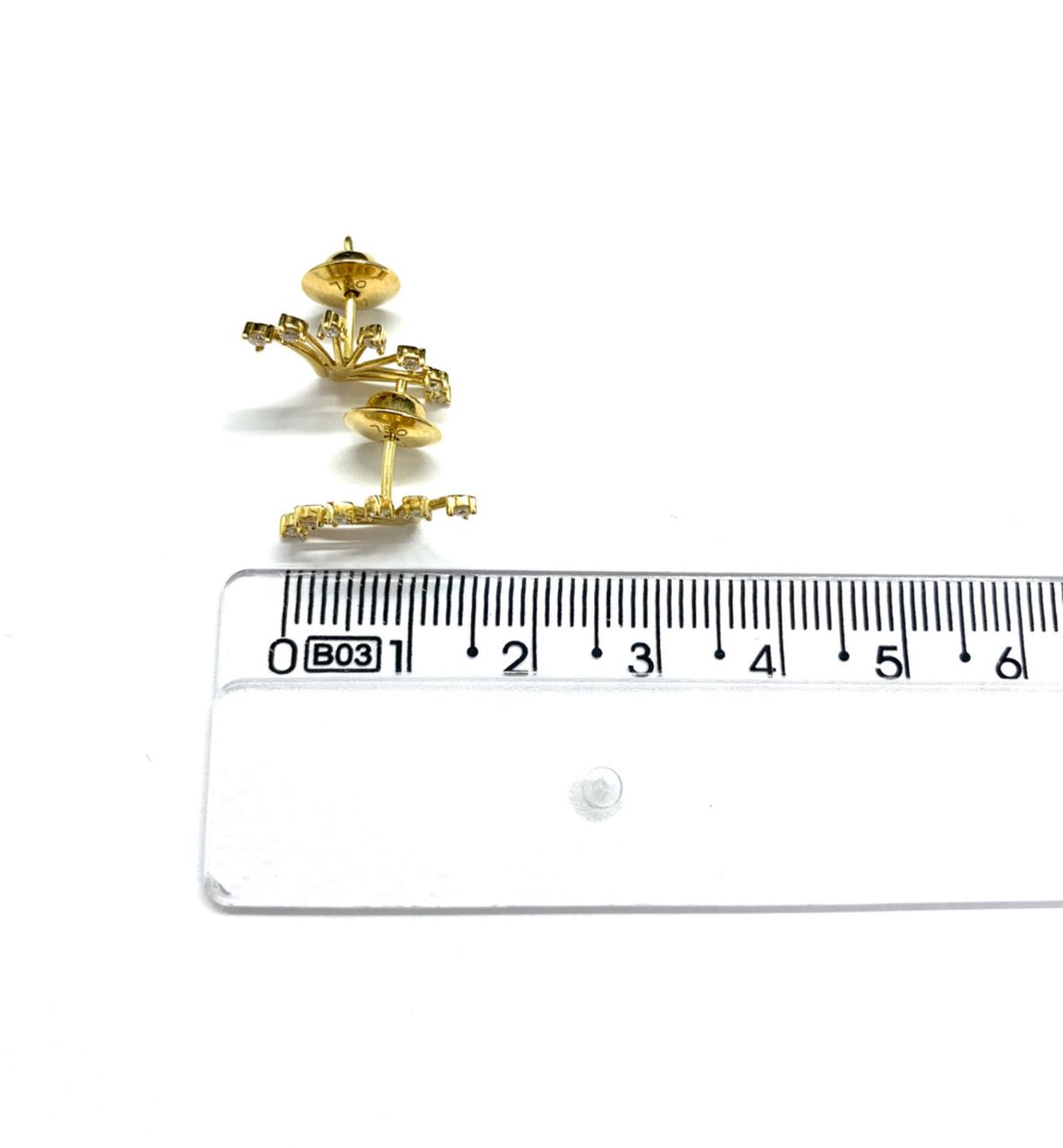 Brinco Ouro 18K Com Brilhante Jjoias Premium