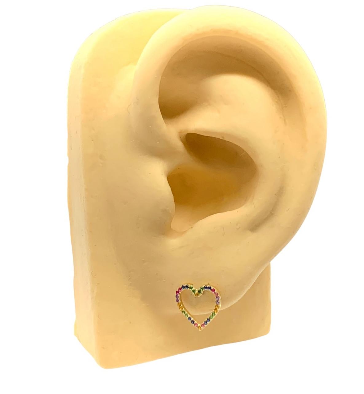 Brinco Ouro 18k Coração Vazado Cravejado Jjoias Premium