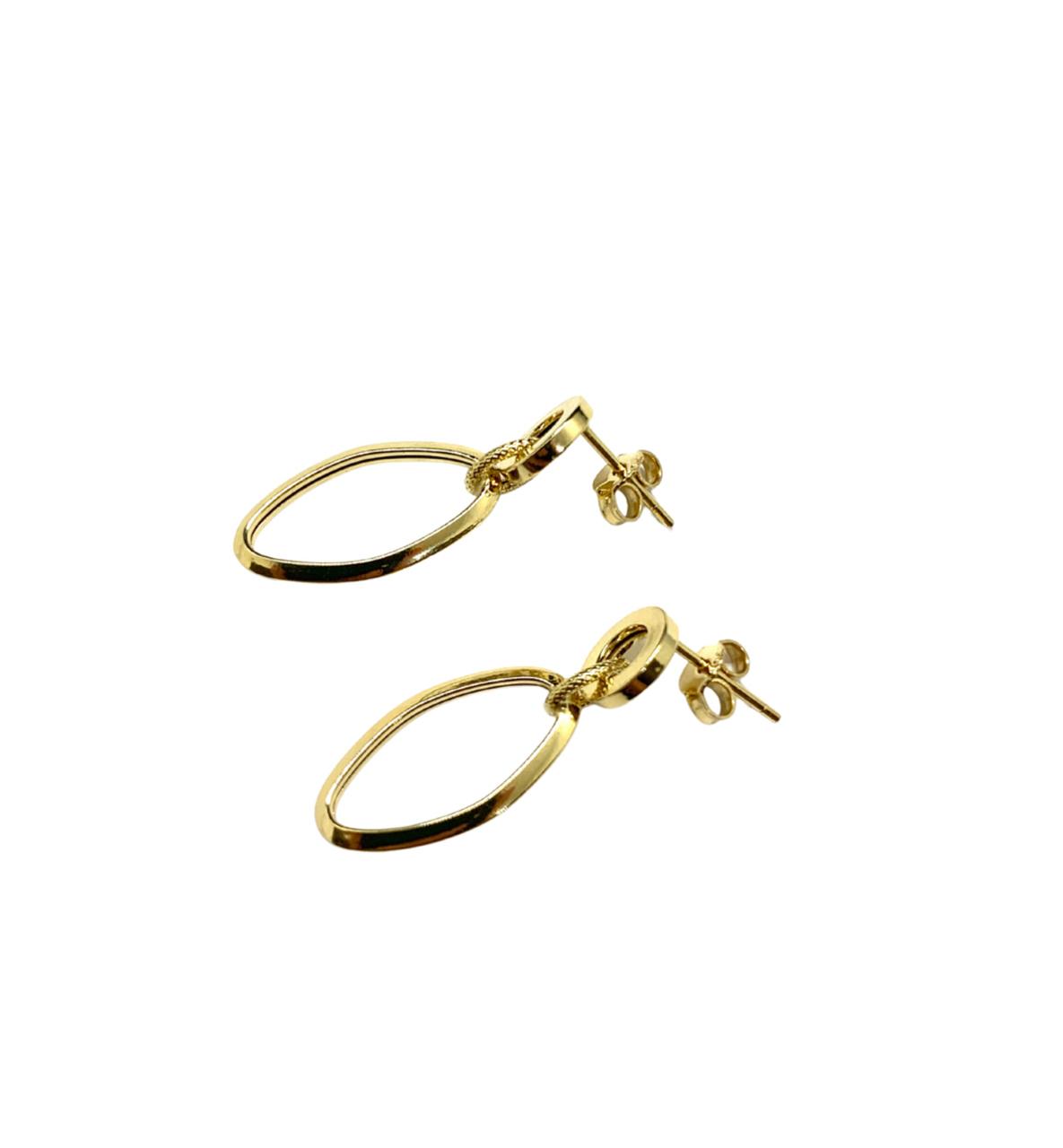 Brinco Ouro 18k Elo Oval Jjoias Premium