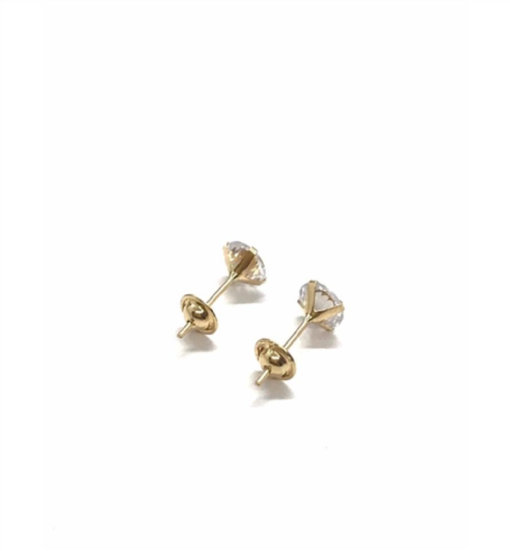 Brinco Ouro 18k Infantil  Ponto de Luz Branco 5,0mmX3,5mmX5,0mm