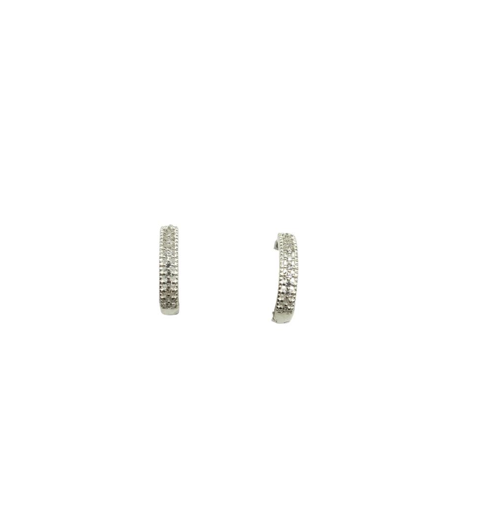 Brinco Prata Argola Vazada com Pedras PB21310