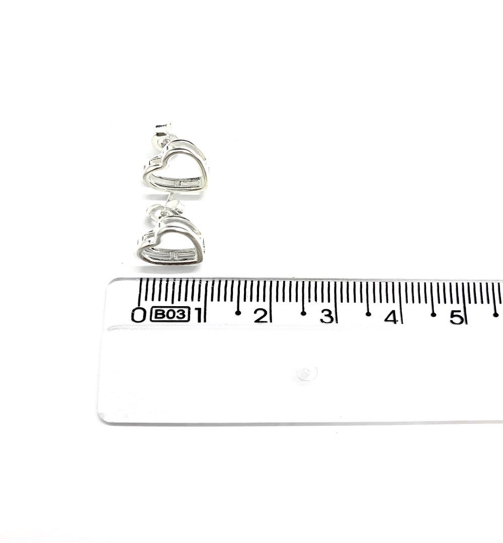 Brinco Prata Coração Vazado PB19512