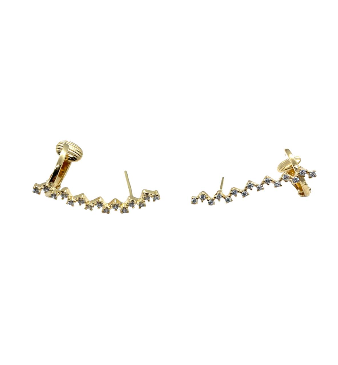 Brinco Semijoia Ear Cuff Cravejado BR6791
