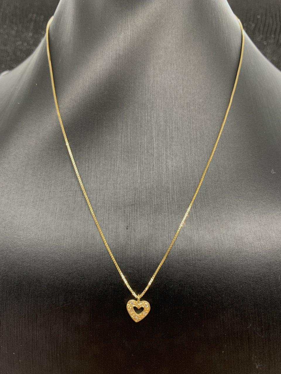Colar de Ouro 18k Coração Contorno Cravejado Jjoias Premium