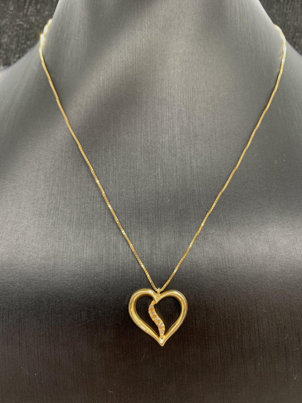 Colar Ouro 18k Coração Vazado com Brilhantes Jjoias Premium