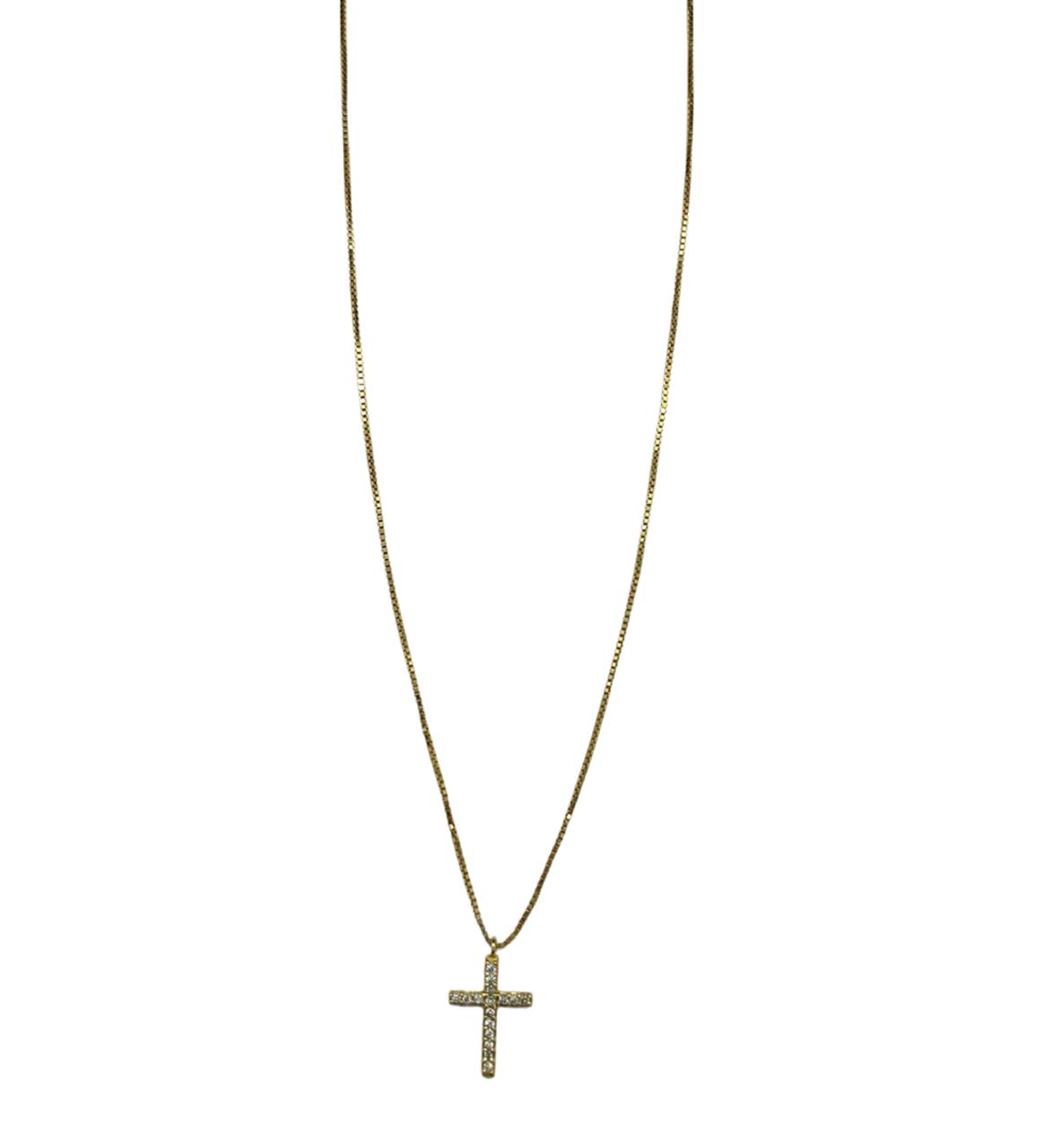 Colar Ouro 18k Cruz Cravejada Brilhantes Jjoias Premium