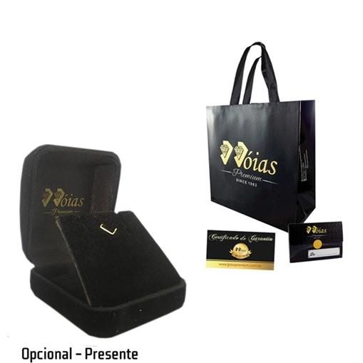 Colar Ouro 18k Gota com Contorno Cravejado Jjoias Premium
