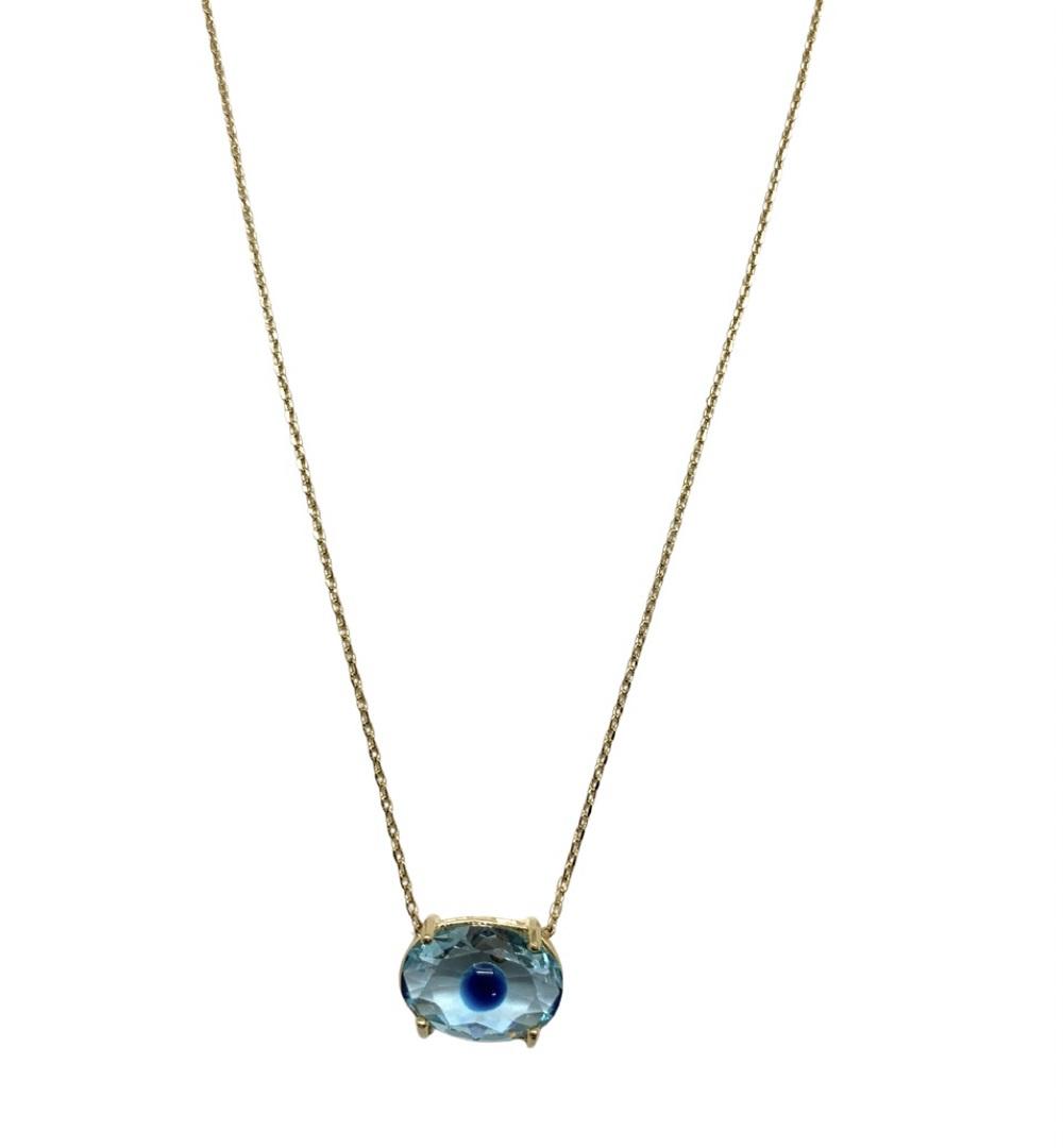 Colar Semijoia Pedra Olho Grego CL8038