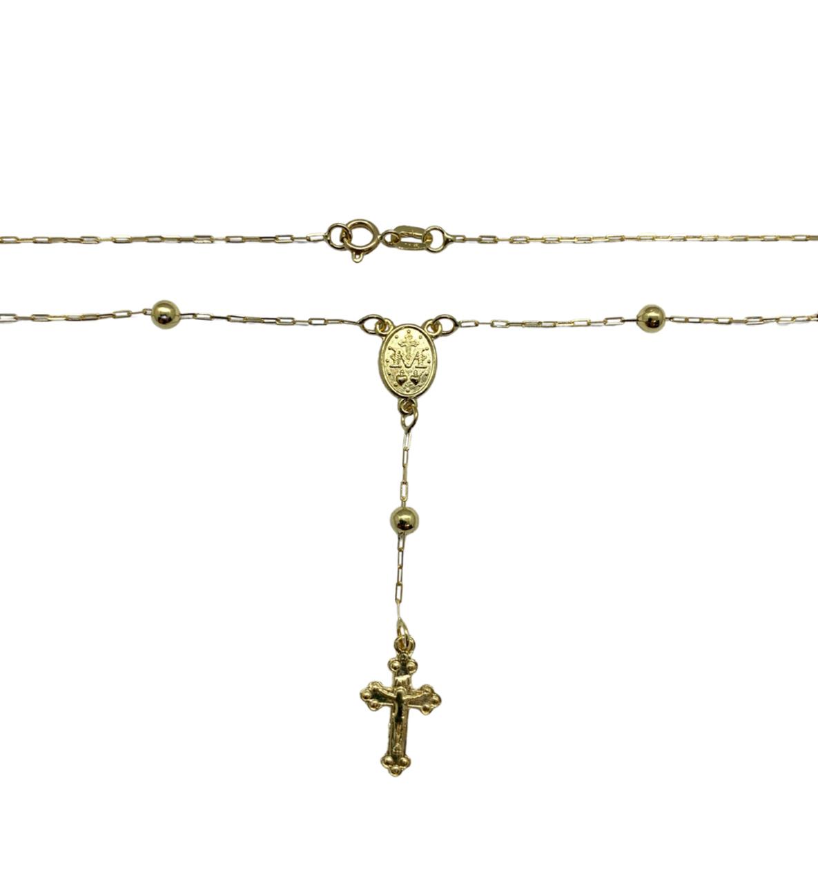 Colar Terço Cartier Dourado Ouro 18k TER45230003-54