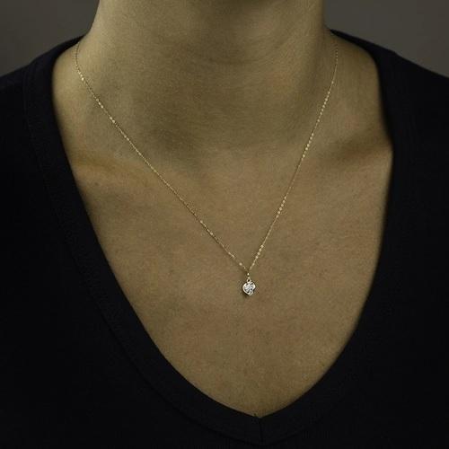 Gargantilha Ouro 18k Coração Zircônia  45cm G0001-20