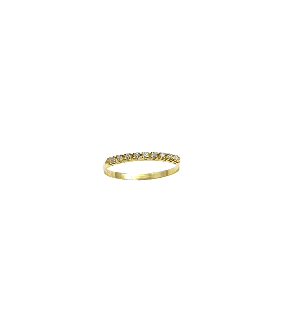 Meia Aliança Ouro 18k Cravejada Jjoias Premium