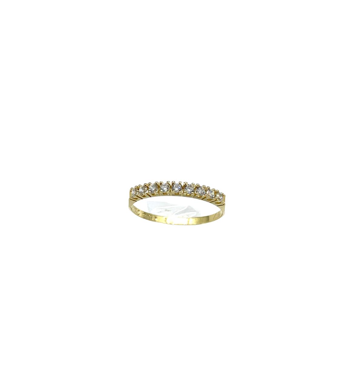 Meia Aliança Ouro 18k Cravejada 2,0mm Jjoias Premium
