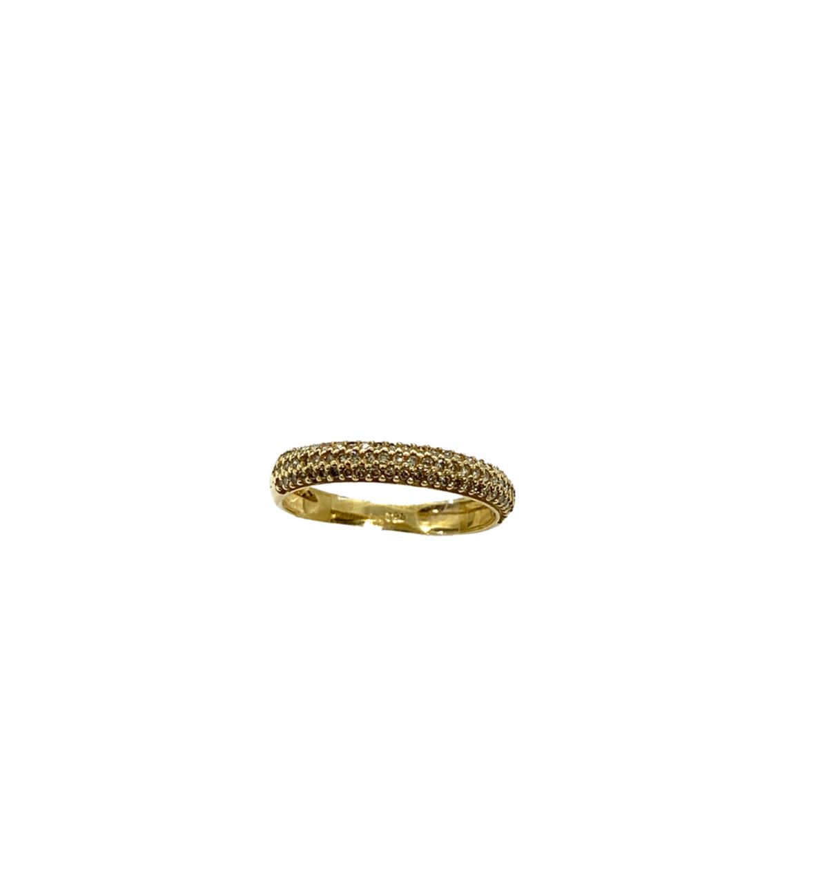 Meia Aliança Ouro 18k Cravejada Brilhante Jjoias Premium