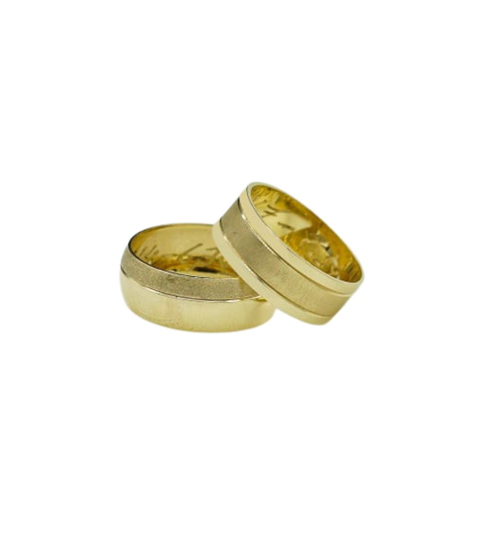 Par Aliança Ouro 18k Trabalhada Anatomica Oca 7,0mm x 0,60mm Jjoias Premium