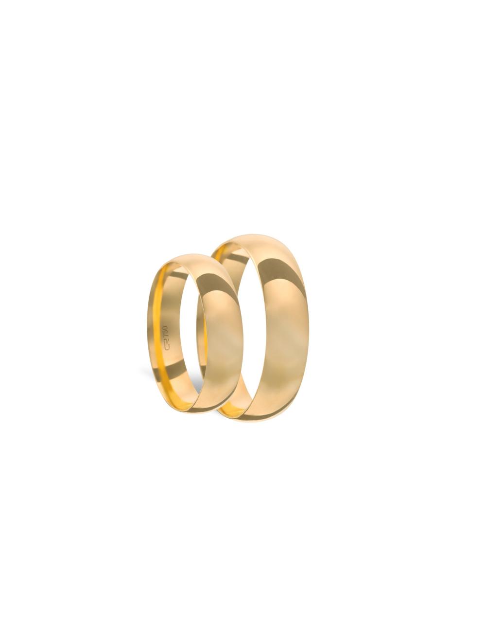 Par Aliança Ouro 18k Tradicional 5,00mm x 0,80mm