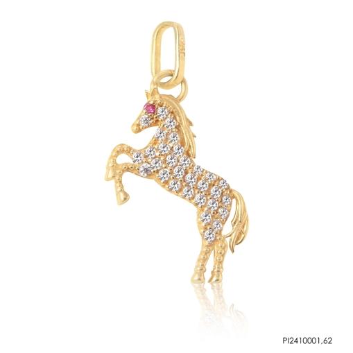 Pingente Cavalo Ouro 18K Cravejado