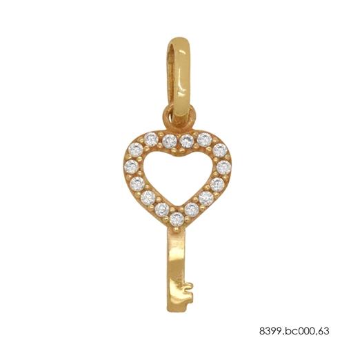 Pingente Chave Ouro 18K  Coração Vazado Cravejado