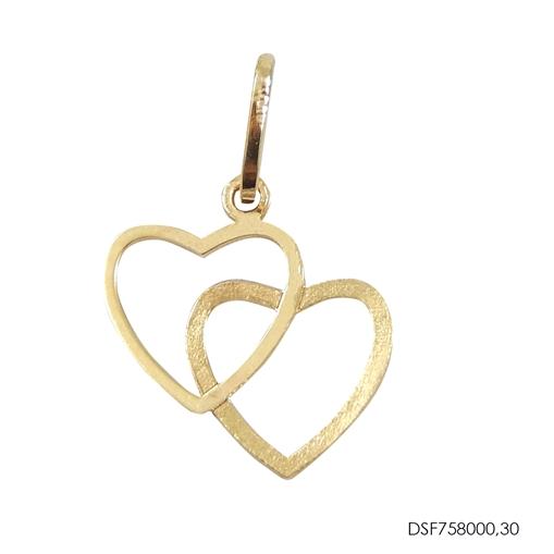 Pingente Coração Duplo Vazado Ouro 18k