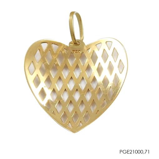Pingente Coração Friso Vazado Ouro 18k