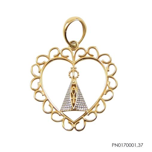 Pingente Coração Nossa Senhora Ouro 18k