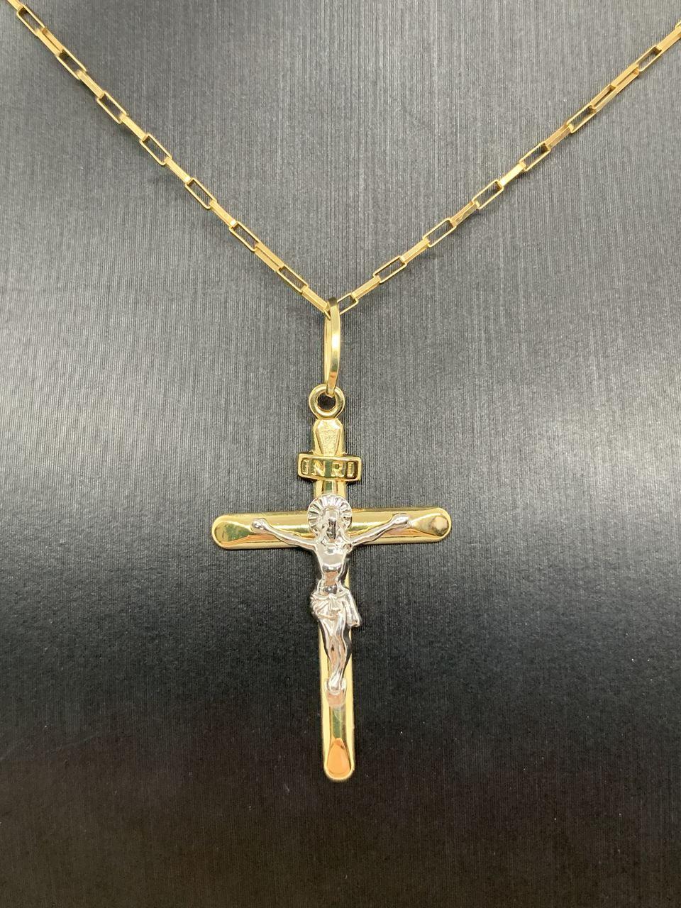 Pingente Crucifixo Ouro 18k Com Ouro Branco