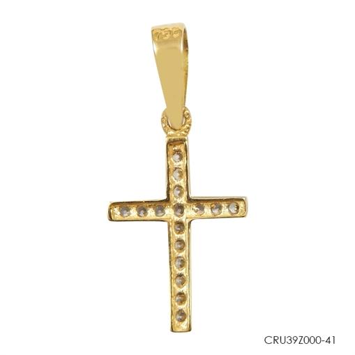 Pingente Cruz Cravejado Dourado ouro 18k Jjoias Premium