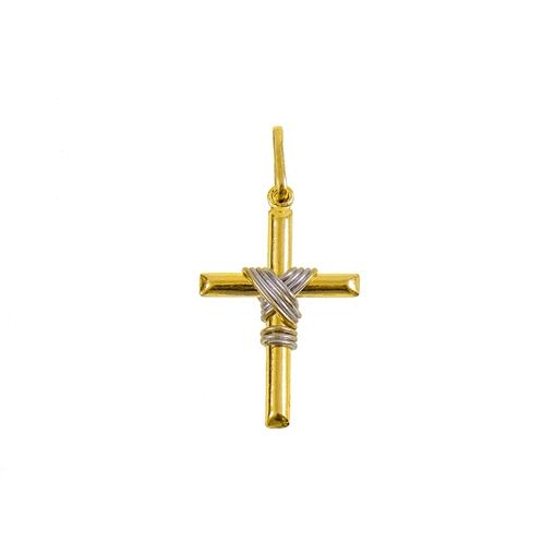 Pingente Cruz Ouro 18K Com Ouro Branco