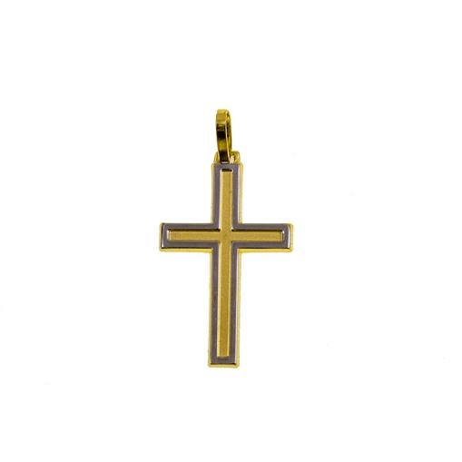 Pingente de Ouro 18k Cruz com Ouro Branco