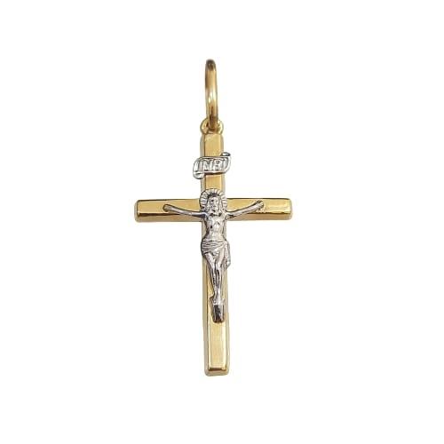 Pingente de Ouro 18k Cruz Cristo Com Ouro Branco