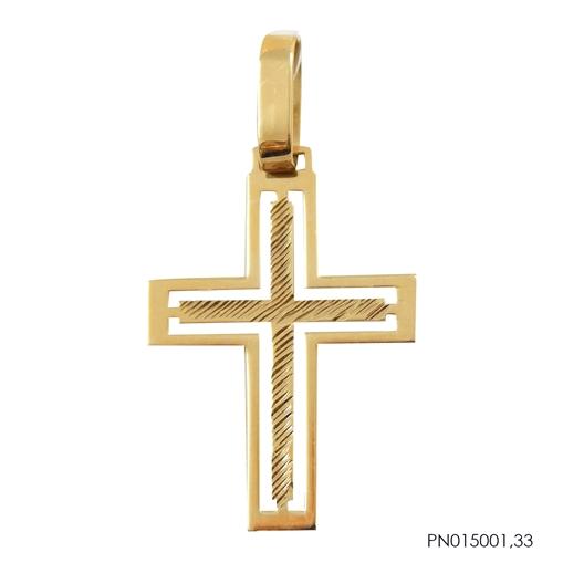Pingente de Ouro 18k Cruz Vazada com Friso Dourado