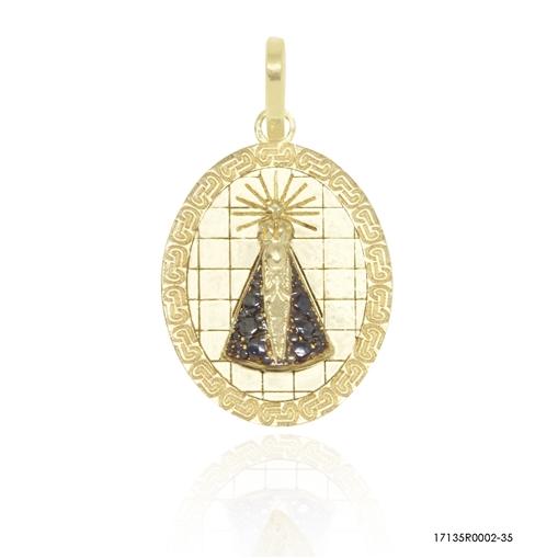 Pingente Medalha Nossa Senhora Aparecida Ouro 18k Jjoias Premium