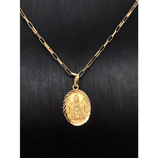Pingente de Ouro 18k Medalha Nossa Senhora
